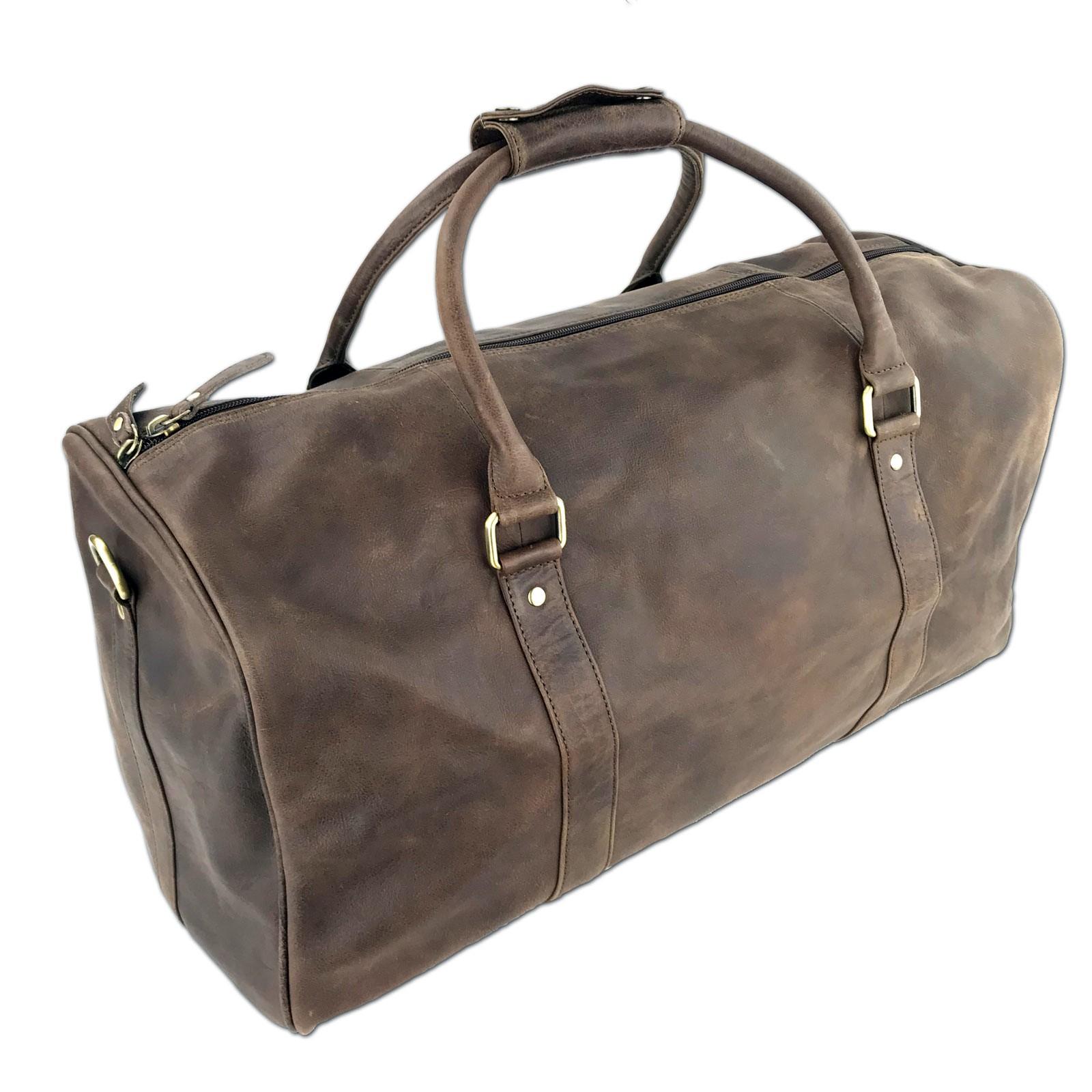Db001cr Mens Full Grain Leather Duffle Bag
